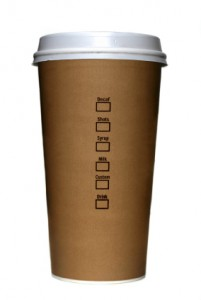 image of a foam coffee cup with brown outer sleeve