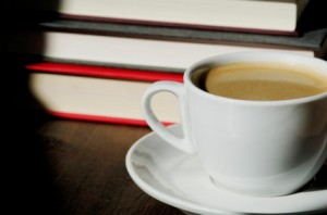 image of books and a cup of coffee