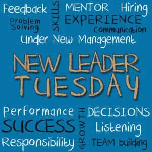 Text image with New Leader Tuesday and a variety of management terms