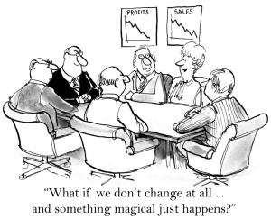 Cartoon image of a business meeting