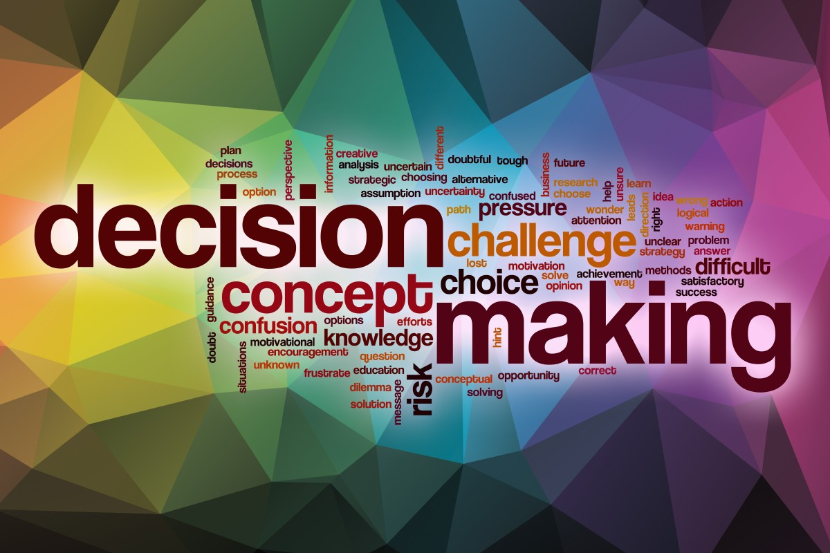word cloud emphasizing decision making