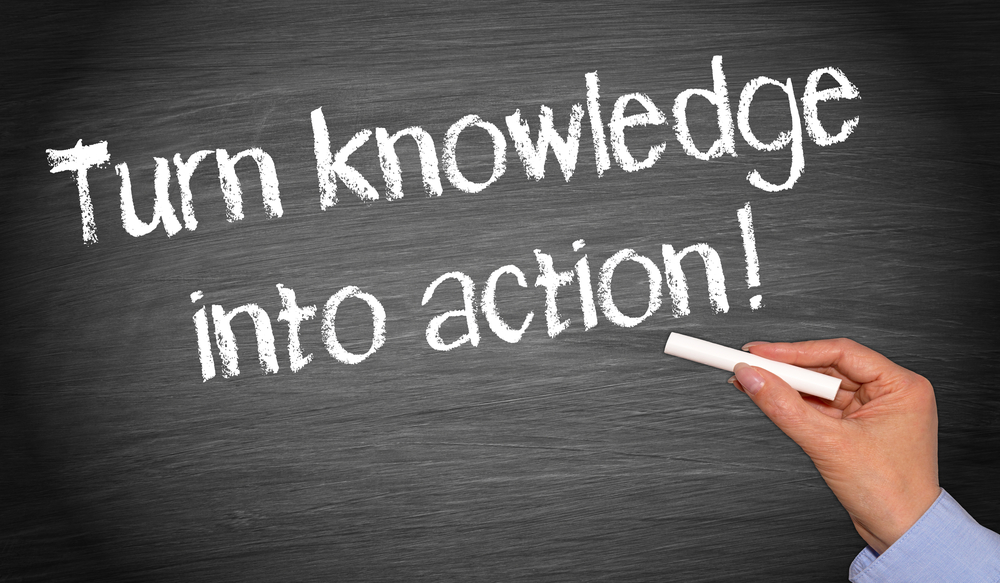 Chalkboard with saying: turn knowledge into action