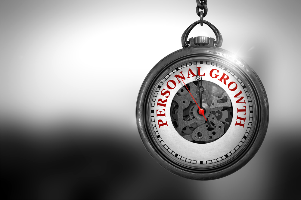 Stopwatch with the label personal growth