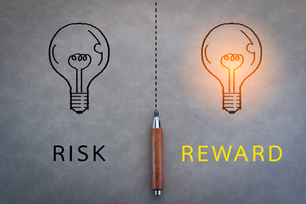 image of two lightbulbs with captions: risk, reward